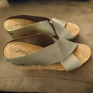 Lucky Brand cork wedge sandals size 5.5